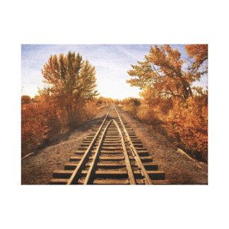 Las pistas viejas del tren lona envuelta para galerias