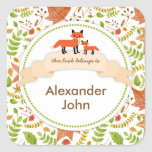 Las placas de libro del Fox de las criaturas del Pegatina Cuadrada