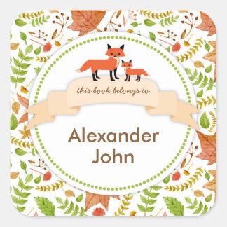 Las placas de libro del Fox de las criaturas del Calcomanía Cuadradas