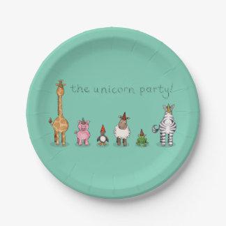 Las placas de papel del fiesta del unicornio platos de papel