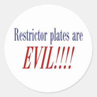 ¡Las placas del restrictor son MALVADAS!!!! Pegatina Redonda