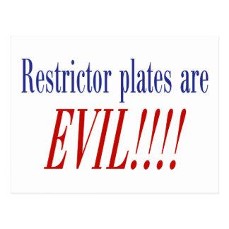 ¡Las placas del restrictor son MALVADAS!!!! Postal