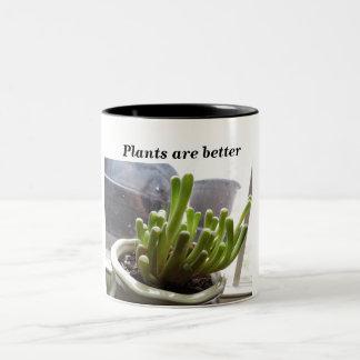 Las plantas son mejores, la taza 11oz. de dos tono