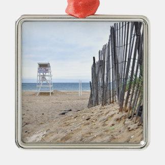 Las playas de la duna de arena de Montauk, NY Adorno Cuadrado Plateado