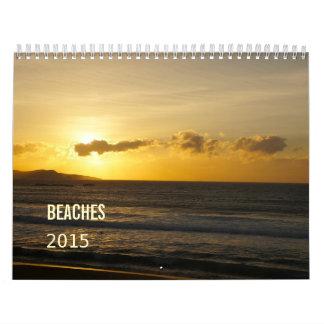 Las playas hermosas agitan la puesta del sol 2015 calendarios