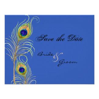 Las plumas del pavo real ahorran el azul de la fec anuncios personalizados