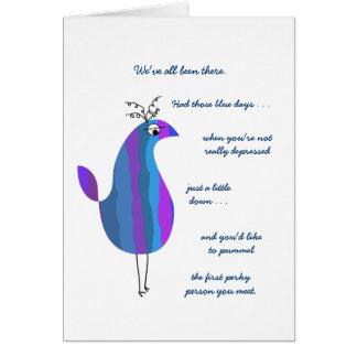 Las plumas divertidas - persiga los azules lejos tarjeta de felicitación