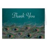 Las plumas elegantes del pavo real le agradecen tarjetas