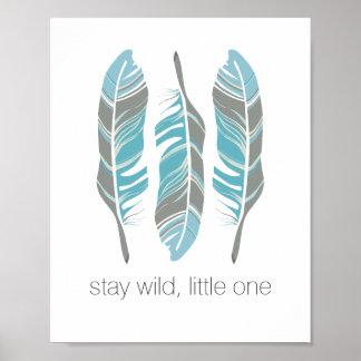 Las plumas rústicas permanecen arte personalizado póster