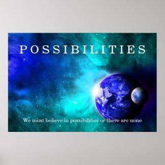 Las posibilidades del espacio de la luna de la póster