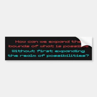Las posibilidades son sin fin etiqueta de parachoque