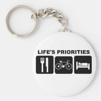 Las prioridades de la vida, Biking Llavero Redondo Tipo Pin