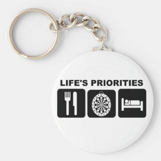 Las prioridades de la vida, dardos llavero redondo tipo pin