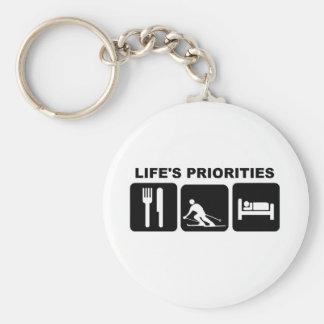 Las prioridades de la vida, esquiando llavero redondo tipo pin