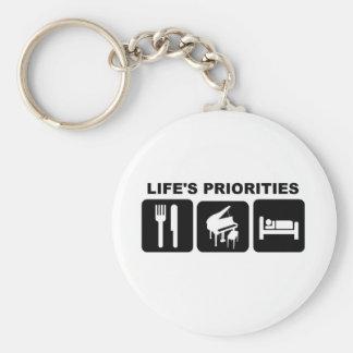 Las prioridades de la vida, música del piano llavero redondo tipo pin