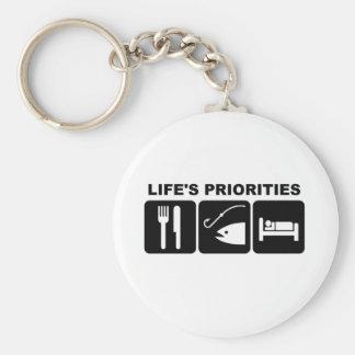 Las prioridades de la vida, pescando llavero redondo tipo pin