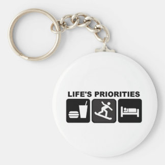 Las prioridades de la vida, snowboard llavero redondo tipo pin