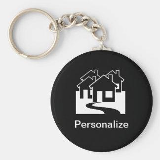 Las propiedades inmobiliarias adaptables contienen llavero redondo tipo chapa