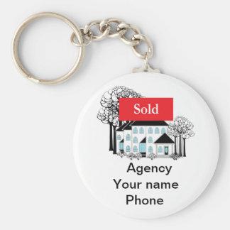 Las propiedades inmobiliarias vendidas promueven llavero redondo tipo pin