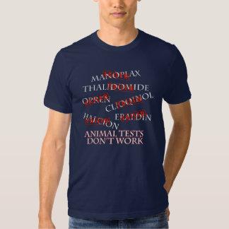 Las pruebas animales no trabajan la camiseta remeras