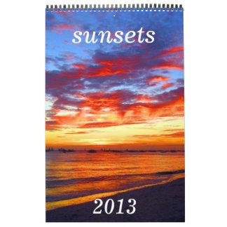 las puestas del sol hacen calendarios 2013