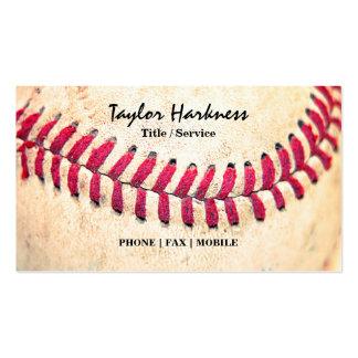 Las puntadas rojas del béisbol del vintage se cier tarjeta de visita
