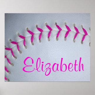 Las puntadas rosadas personalizaron softball póster