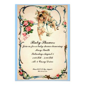 """Las querubes con la fiesta de bienvenida al bebé invitación 5"""" x 7"""""""