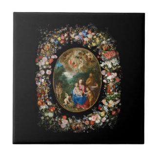 Las querubes dan ofrendas al niño de Cristo Azulejo Cerámica