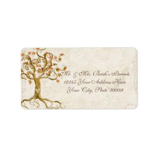Las raíces del árbol del remolino Antiqued el boda Etiqueta De Dirección