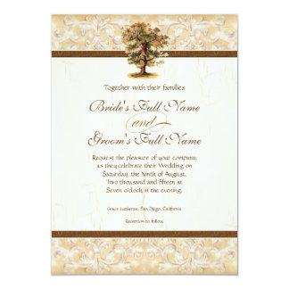 Las raíces del árbol del remolino Antiqued el boda Invitación 12,7 X 17,8 Cm