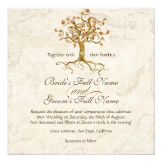 Las raíces del árbol del remolino Antiqued el boda Invitación