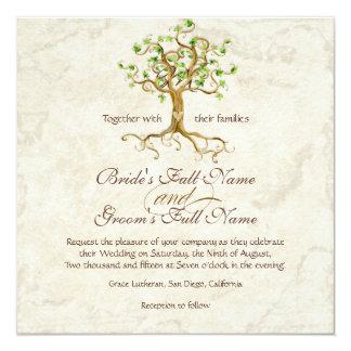 """Las raíces del árbol del remolino Antiqued el boda Invitación 5.25"""" X 5.25"""""""
