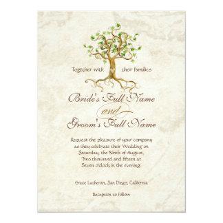 """Las raíces del árbol del remolino Antiqued el boda Invitación 5.5"""" X 7.5"""""""