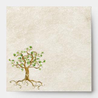 Las raíces del árbol del remolino Antiqued el boda Sobres