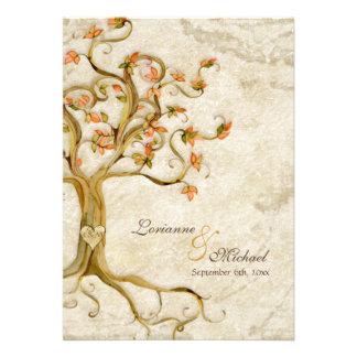 Las raíces del árbol del remolino Antiqued el perg Invitación Personalizada