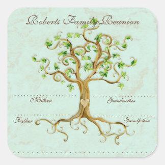 Las raíces del árbol del remolino Antiqued etiquet