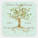 Las raíces del árbol del remolino Antiqued Calcomanías Cuadradass Personalizadas