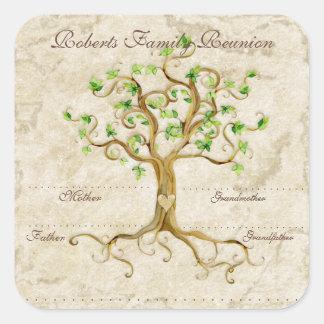 Las raíces del árbol del remolino Antiqued Calcomanía Cuadrada