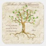 Las raíces del árbol del remolino Antiqued Pegatina Cuadradas Personalizada