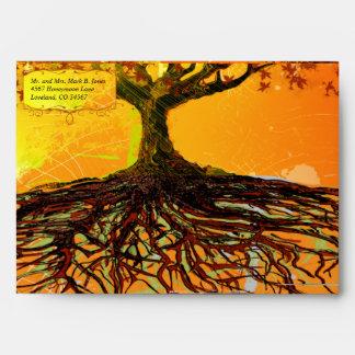 Las raíces del boda del árbol de la caída del amor sobres
