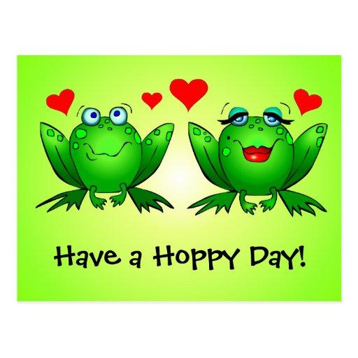Las ranas en amor tienen una postal de lúpulo del