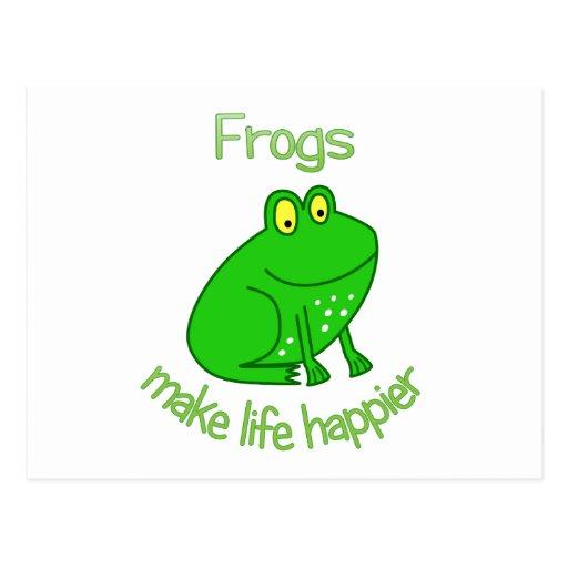 Las ranas hacen vida más feliz postales