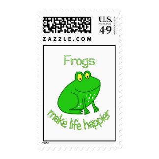 Las ranas hacen vida más feliz timbre postal