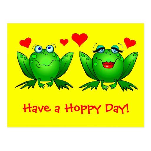 Las ranas lindas del dibujo animado tienen un amar tarjeta postal