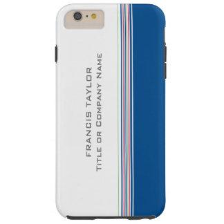 Las rayas azul marino mínimas modernas elegantes funda para iPhone 6 plus tough