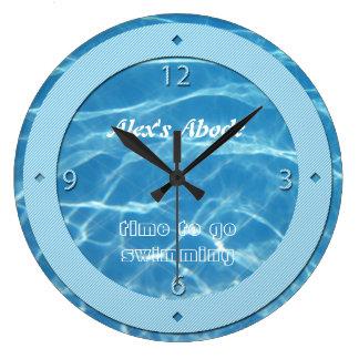 Las rayas azules azules de cielo del agua de la pi relojes