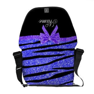 Las rayas azules de neón conocidas de encargo de l bolsas messenger