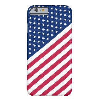 Las rayas blancas azules rojas de los E.E.U.U. Funda De iPhone 6 Barely There
