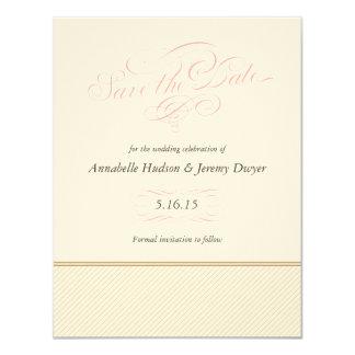 """Las rayas clásicas del oro ahorran la tarjeta de invitación 4.25"""" x 5.5"""""""